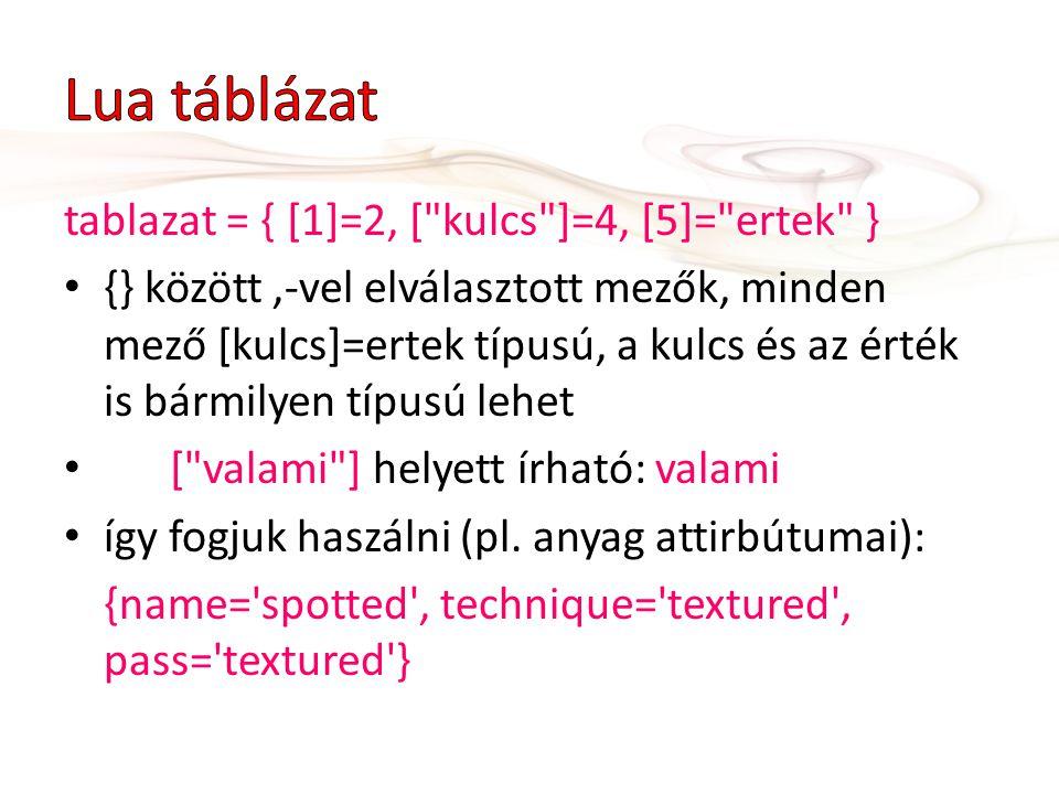Lua táblázat tablazat = { [1]=2, [ kulcs ]=4, [5]= ertek }
